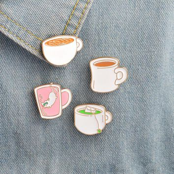 4 pcs/lot cartoon cat coffee cup badges brooch button pins denim jacket pin jewelry decoration badge for clothes lapel pins
