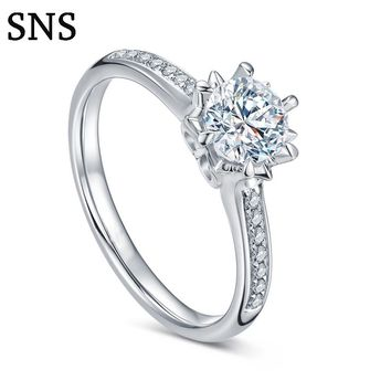 0.3carat Round Cut Real Diamond Engagement Ring Halo Style 6-Prong Setting Solitaire with Accents 14k White Gold for Women
