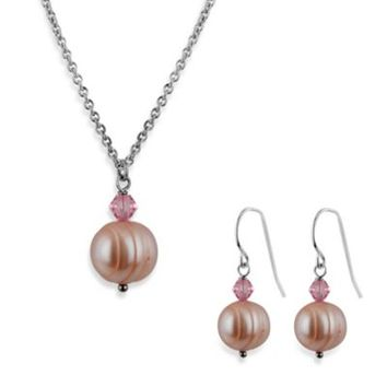 Honora Freshwater Cultured Pearl and Crystal Pendant Necklace and Earring Set in Rose