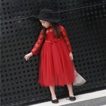 """City Glam """"Ruby"""" Girls Red Lace Dress"""