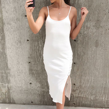 Gina Ribbed Lace Up Midi Dress