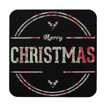 Merry Christmas Greeting Coaster