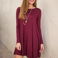 Wine And Dine Dress, Burgundy