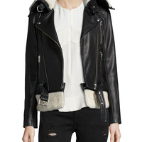 Kolia Leather Jacket with Shearling Fur, Black/White, Size: 38, BLACK/WHITE - IRO