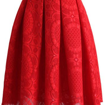 Sunflower Lacey Skirt in Red