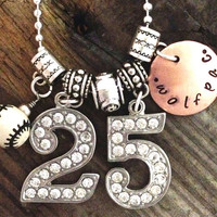 Rhinestone Jersey Number Charm Necklace, Baseball Charm Necklace