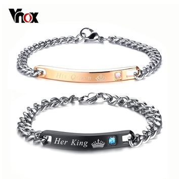Vnox Crown His Queen Her King Engraved Couple Bracelets For Women Men Stainless Steel Lover Jewelry Valentine's Day Gift