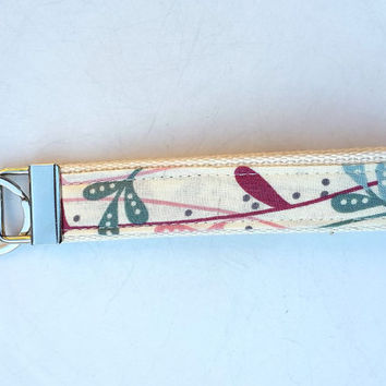 Wristlet key fob. Handmade fabric and webbing key ring. Wrist Strap keyring