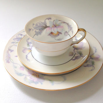 Vintage Epiag Czechoslovakia Springer & Co. Fine Bone China Tea Cup and Saucer Trio Tea Party Inspiration