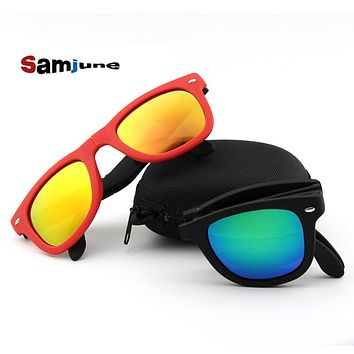 Samjune Vintage Folding Sunglasses Women  Oversize Luxury Brand Designer Men Sunglasses Large Mirror Lens Oculos With Case