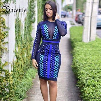 Luxe Heavy Work Chic Ombre Strings Lace Up Mesh Patchwork Women Celebrity Party Bandage Dress