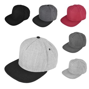 DALIX 5 Panel Wool Blend Hat Flat Bill Cap Snapback (Gray, Black, Maroon, Gray/Black)