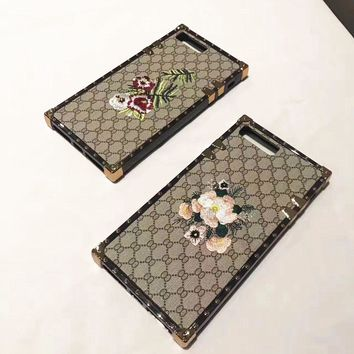 GUCCI pattern embroidering iPhone Phone Cover Case For iphone 6 6s 6plus 6s-plus 7 7pl