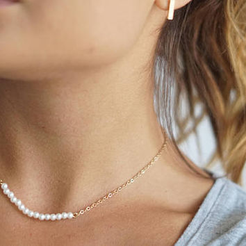 Dainty Gold Pearl Choker Necklace, Single Layering Necklace,  Bohemian Jewelry, Freshwater Pearl Choker Necklace, Delicate Gold Chain Choker