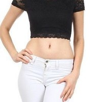 Floral Lace Midriff Scoop Neck Short Sleeve Scalloped Lace Trim Crop Top