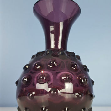 Vintage Amethyst Hobnail Bud Vase, Empoli Amethyst Hobnail Art Glass, Purple Hobnail Art Glass, Purple Glass Vase, Studded Glass Vase