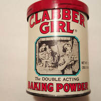 Vintage Clabber BAKING POWDER TIN Can, Baking Kitchen Advertising 1950's Collectible
