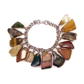 Vintage 1970's Semi Precious Stone Dangle Bracelet