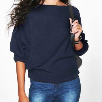 Blue  Loose Bat Sleeve Knit Sweater
