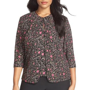 Plus Size Women's Alex Evenings Floral Print Pleat Neck Twinset ,