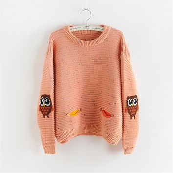Autumn winter women sweater harajuku O-neck pullover female lovely owl double pocket knitted sweaters fashion Pink sweaters