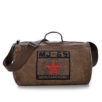 Vere Gloria Mens Canvas Messenger Bag Casual Travel Cylinder Shape Shoulder Bags