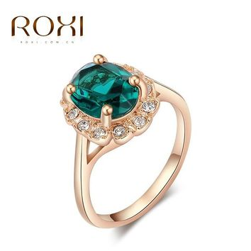 ROXI Brand Ring For Women Fashion Crystal Zirconia Gold Color Rings for Women Luxury Engagement Ring Elegant Wedding  Jewelry