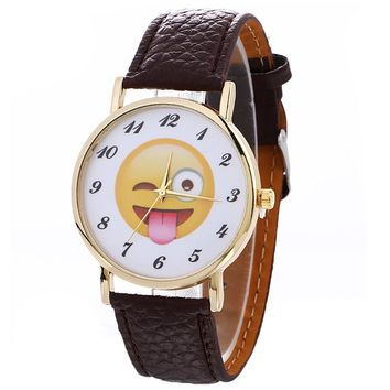 New Women Watches Cute Emoji Fashion Casual Quartz Watch Female Clock PU Leather Bracelet Watch relogio feminino #63