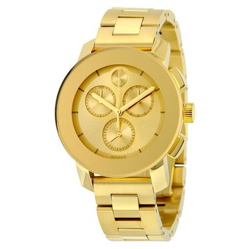 Movado Bold Gold-toned Metallic Dial Unisex Chronograph Watch 3600358