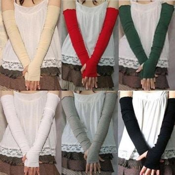 Women's Cotton UV Protection Arm Warmer Long Fingerless Long Gloves Sleeves