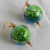 Handblown Glass Sparkling Christmas Ball Earrings       ~Christmas Earrings~Glass Ball Earrings~Christmas Ornament Earrings~Novelty Earrings