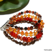 Beaded 4 Strand Bracelet Carnelian Crystal Glass Lampwork Sterling Silver Dream Agate Handmade Jewelry Autumn Colors Brown Orange