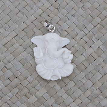 Ganesha Pendant in Indian Style Pendant, Bali Bone Carving Jewelry