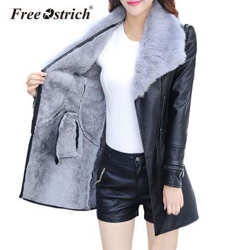 Trendy Free Ostrich Jacket Winter Leather Jacket Warm Velvet Coat Women Sashes Zipper Fur Turn-down Collar Long Jacket Dropshipping D28 AT_94_13