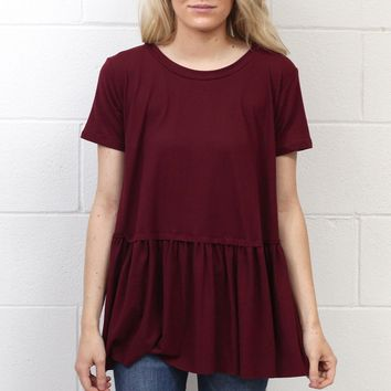 Cutest Suedette Relaxed Peplum Ever {Burgundy}