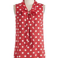 ModCloth Vintage Inspired Mid-length Sleeveless Knots and Dots Top