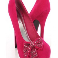 Fuchsia Faux Suede Decorative Bow Rhinestone Detail Holiday Heels @ Amiclubwear Heel Shoes online store sales:Stiletto Heel Shoes,High Heel Pumps,Womens High Heel Shoes,Prom Shoes,Summer Shoes,Spring Shoes,Spool Heel,Womens Dress Shoes,Prom Heels,Prom Pum