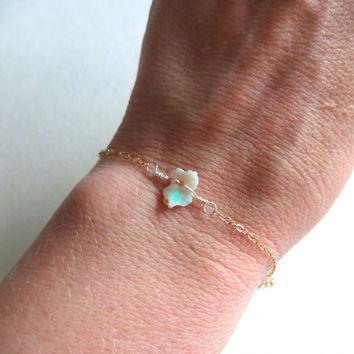 Rough Opal and 14K Gold Fill Bracelet by KalosandCo on Etsy