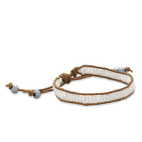 Tan Leather Fashion Bracelet with White Seed Beads