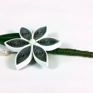 Boutonniere Alternatives Paper Flower Buttonhole, gray boutonniere, unique groom flower, rustic wedding, quilling flower, custom boutonniere