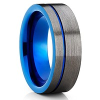 Blue Tungsten Wedding Ring - Gunmetal Gray - Blue Tungsten Ring - Brush