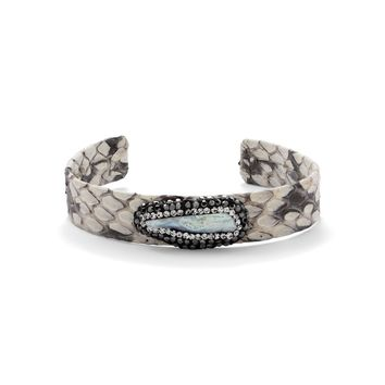 Snakeskin and Cultured Freshwater Baroque Pearl Cuff Bracelet