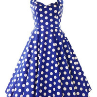 summer retro vintage party 50s strapless cute dot dress