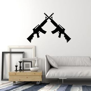 Vinyl Wall Decal Two Assault Rifles Guns Military Art Room Decoration Stickers Mural (ig5459)