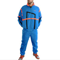 1980's Complete Reebok Tracksuit - Vintage Jacket and Pants - Light Blue & Day-Glo Orange - 80s Windbreaker Suit - Men's Size Large - Dope!