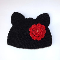 Cat Hat From With Flower Pin For Girl Newborn Adult Photo Prop Baby Hat With Big Flower Halloween / Cosplay