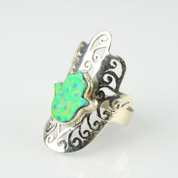 Opal Ring Silver Sze 7.5 Hamsa Hand Ring Opal Hamsa Filigree Ring Sterling Silver Opal Ring Ethnic Filigree Ring Mantra Ring Amulet Ring