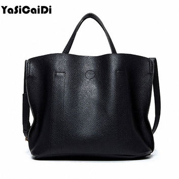 YASICAIDI High Quality PU Leather Women Handbags Female Solid Tote Bag With Casual Messenger Bag Famous Designers Women Bags Sac