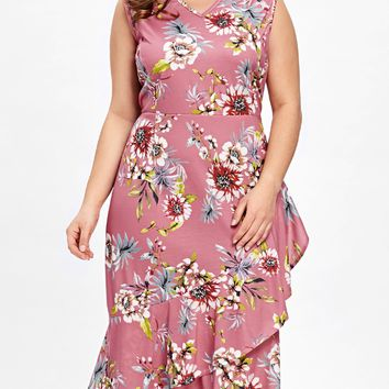 Plus Size Sleeveless Ruffle Hawaiian Dress