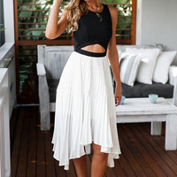 STITCHING BACKLESS CHIFFON DRESS